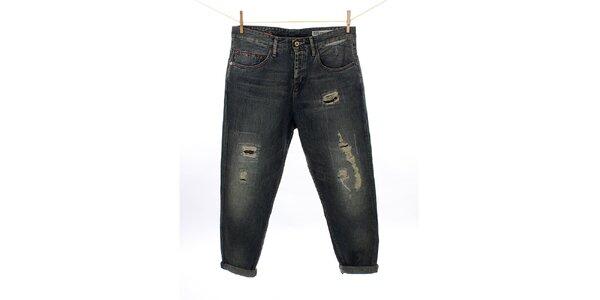 Dámske tmavé vintage džínsy Tommy Hilfiger so záplatami