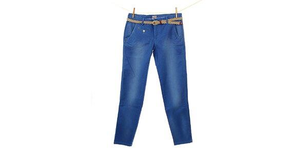 Dámske modré nohavice Tommy Hilfiger s pleteným opaskom