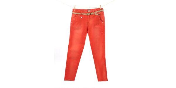 Dámske červené nohavice Tommy Hilfiger s pleteným opaskom