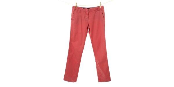 Dámske korálove červené plátené nohavice Tommy Hilfiger