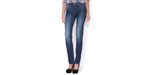 Dámske rovné svetlo modré džínsy Blue Roses s vyšisovanými kolenami