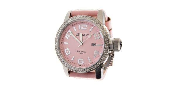 Dámske ružové hodinky Jet Set s koženým remienkom a kamienkami