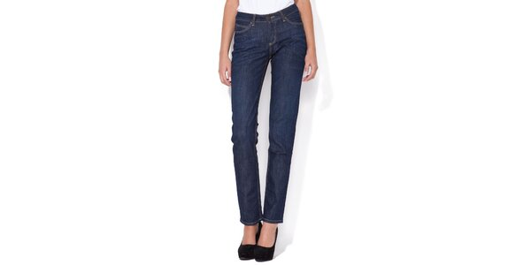 Dámske rovné tmavo modré džínsy Blue Roses s vyšším pásom