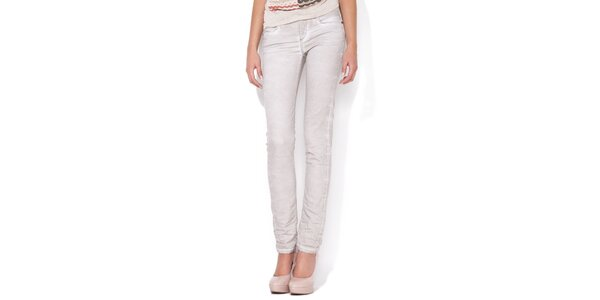 Dámske úzke šedo-biele skinny jeans Blue Roses