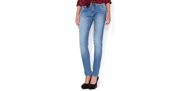 Dámske úzke svetlo modré boyfriend jeans Blue Roses