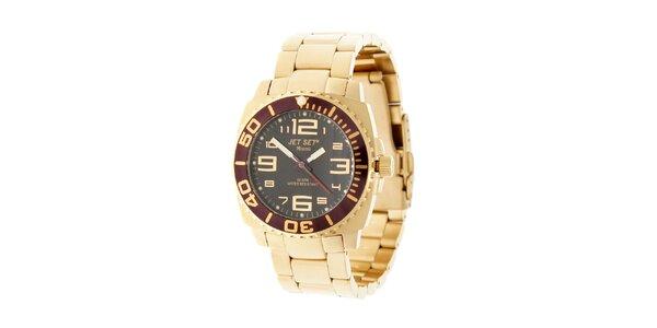 Zlaté hodinky Jet Set s čiernym ciferníkom