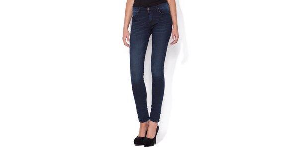 Dámske super úzke modré skinny jeans Blue Roses