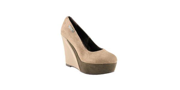 Dámske šedo-béžové topánky na kline Red Hot