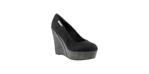 Dámske čierno-šedé topánky na kline Red Hot