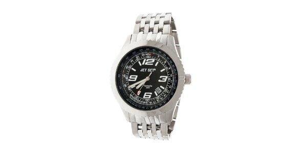 Pánske ocelové hodinky Jet Set s čiernym ciferníkom