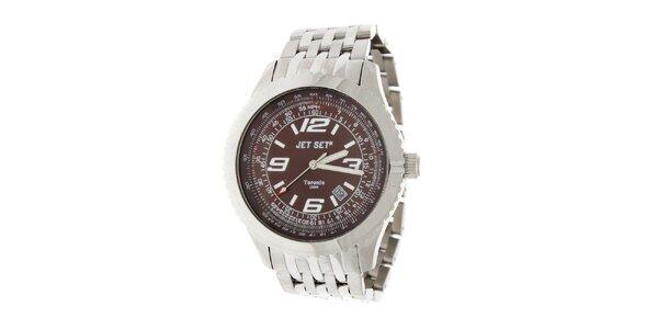 Pánske ocelové hodinky Jet Set s čierno-hnedým ciferníkom