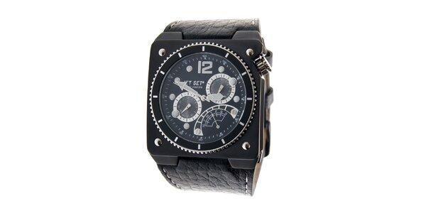 Pánske čierne ocelové hodinky Jet Set s čiernym koženým remienkom