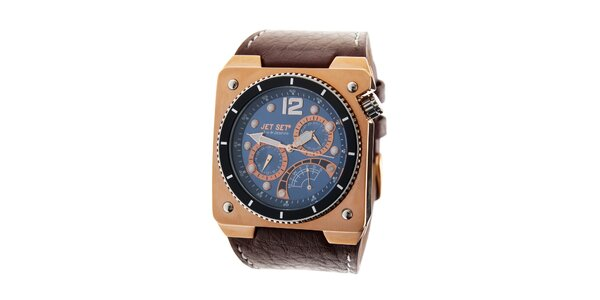 Pánske zlaté hodinky Jet Set s hnedým koženým remienkom
