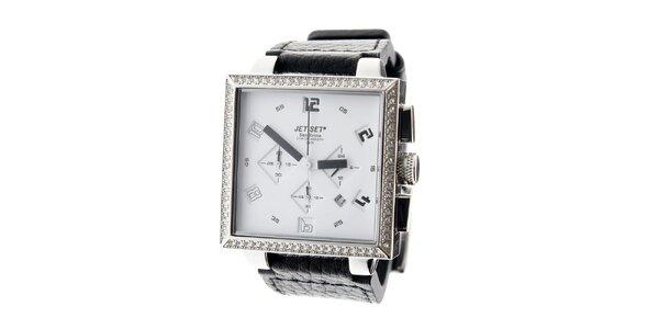 Dámske ocelové náramkové hodinky Jet Set s čiernym koženým remienkom a bielym…