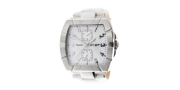 Dámske ocelové náramkové hodinky Jet Set s bielym koženým remienkom
