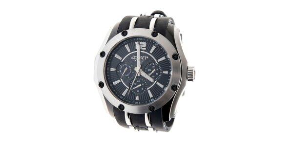 Ocelové hodinky Jet Set s čiernym silikónovým pásikom