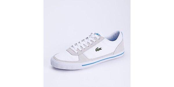 Pánske biele tenisky s modrými detailmi Lacoste