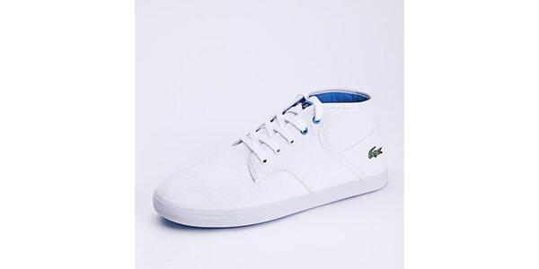 Pánske biele členkové tenisky s modrými detailmi Lacoste