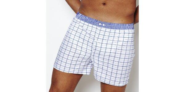 Pánske kárované bielo-modré boxerky Color Code
