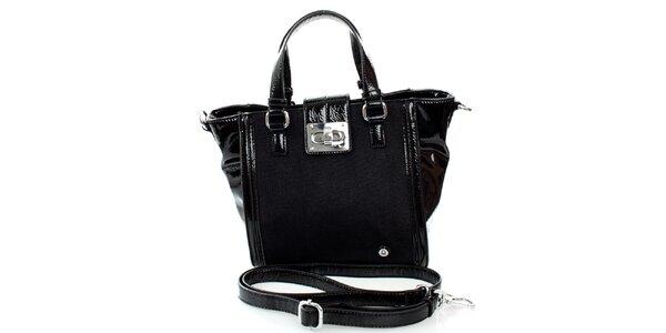 Dámska čierna kabelka United Colors of Benetton so strieborným zámčekom