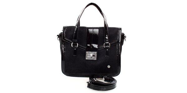 Dámska čierna kabelka United Colors of Benetton s lakovanými detailmi