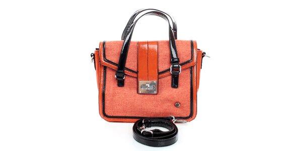 Dámska oranžovo-čierna kabelka United Colors of Benetton s lakovanými detailmi