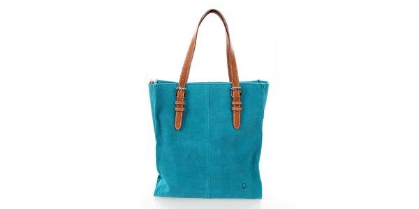 Dámska tyrkysová kožená kabelka United Colors of Benetton