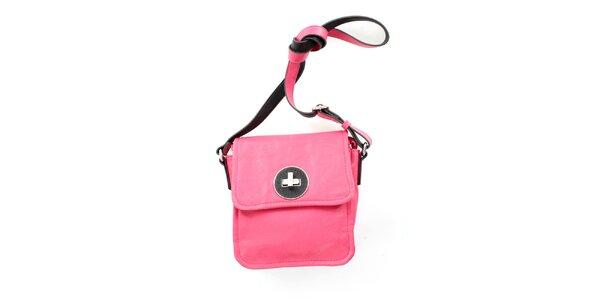Dámska ružová kabelka cez rameno United Colors of Benetton s čiernym zámkom