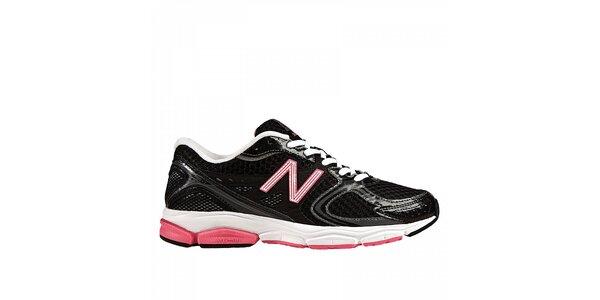 Dámske čierne bežecké tenisky s ružovými detailami