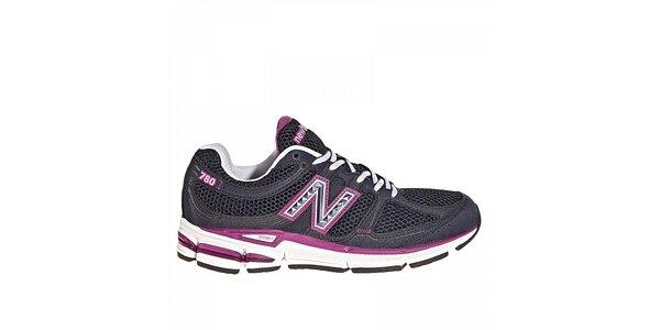 Dámske čierne bežecké tenisky New Balance s fialovými detailami