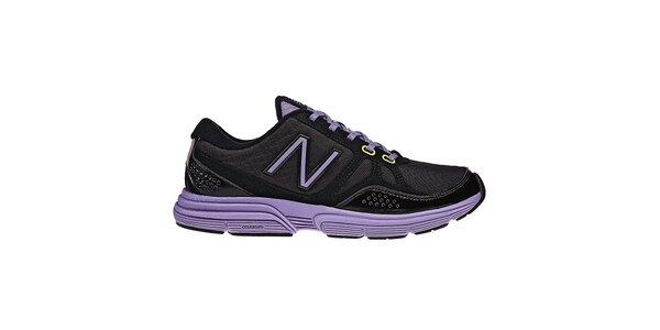 Dámske čierne fitness tenisky New Balance s fialovými detailami