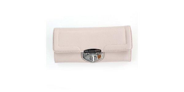 Dámska krémová peňaženka United Colors of Benetton so strieborným zámkom