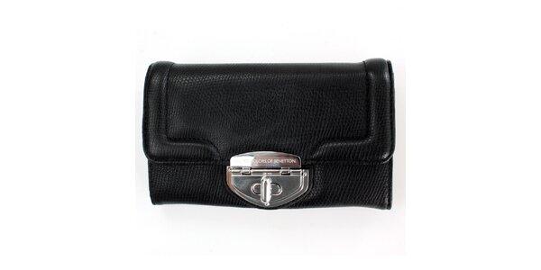 Dámska čierna peňaženka United Colors of Benetton so strieborným zámkom