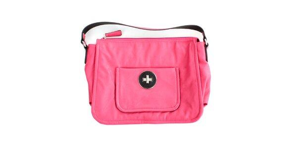 Dámska sýto ružová kabelka s vonkajšou kapsou United Colors of Benetton