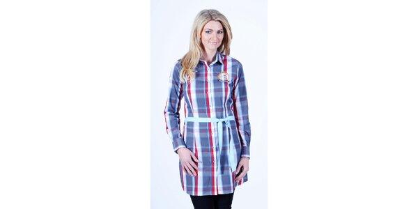 Dámske kockované košeľové šaty so svetlo modrým opaskom Pontto