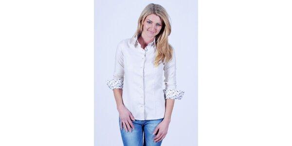 Dámska biela košeľa s kvetovanou légou Pontto