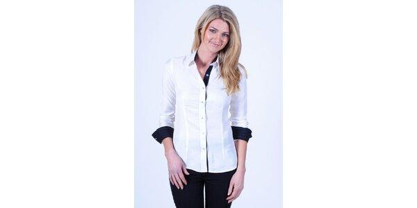 Dámska biela košeľa s čiernymi detailmi Pontto