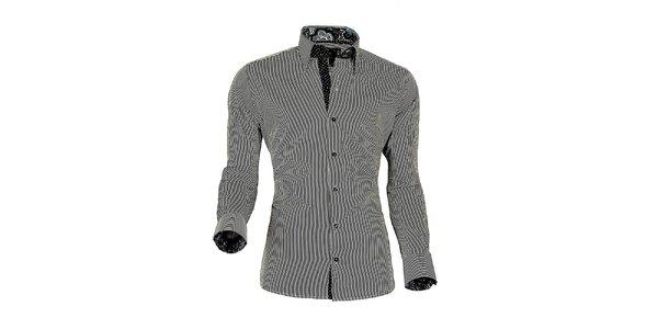 Pánska čierno-biela prúžkovaná košeľa z Premium kolekcie Pontto