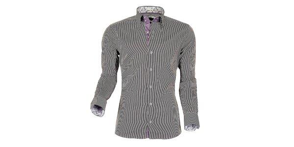 Pánska fialovo-biela prúžkovaná košeľa z Premium kolekcie Pontto