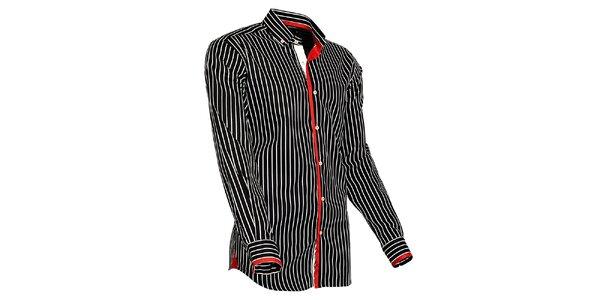 Pánska čierno-biela prúžkovaná košeľa s červenými detailmi Pontto