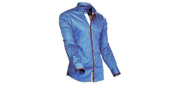 Pánska modro-biela prúžkovaná košeľa s oranžovými detailmi Pontto