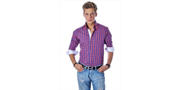 Pánska červeno-modrá kockovaná košeľa Pontto