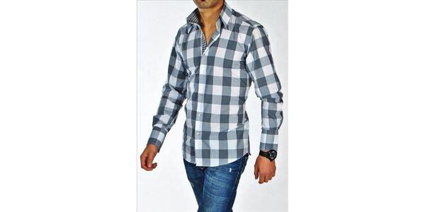 Pánska šedo-biela kockovaná košeľa z Premium kolekcie Pontto