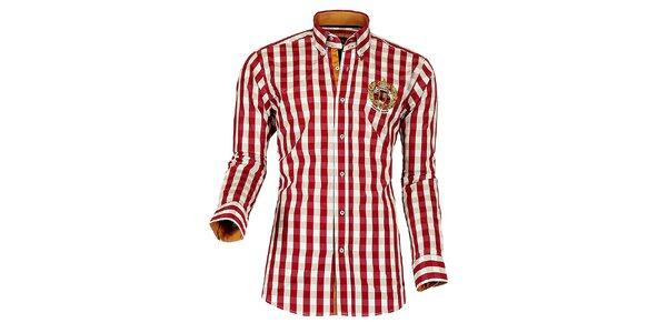 Pánska červeno-biela kockovaná košeľa Pontto