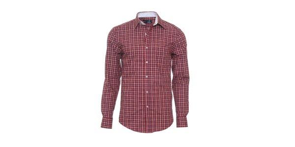 Pánska tmavo červená kockovaná košeľa z limitovanej kolekcie Pontto