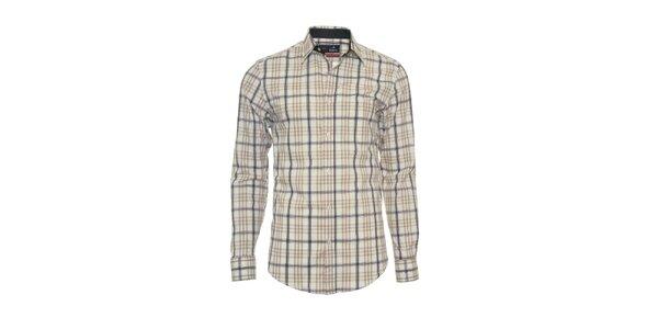 Pánska krémová košeľa s béžovo-šedým vzorom Pontto