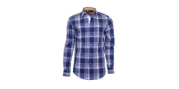 Pánska modro-fialová košeľa s károvaným vzorom Pontto