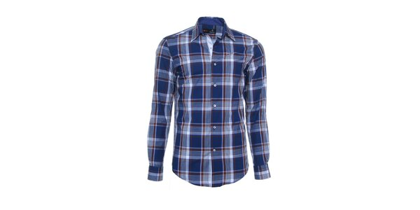 Pánska modro-hnedá košeľa s károvaným vzorom Pontto
