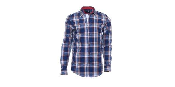 Pánska modro-hnedá košeľa s červenými detailmi Pontto