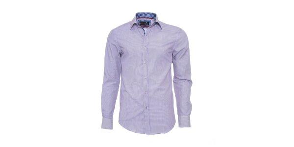 Pánska jemne prúžkovaná košeľa Pontto s vzorovanými detailmi